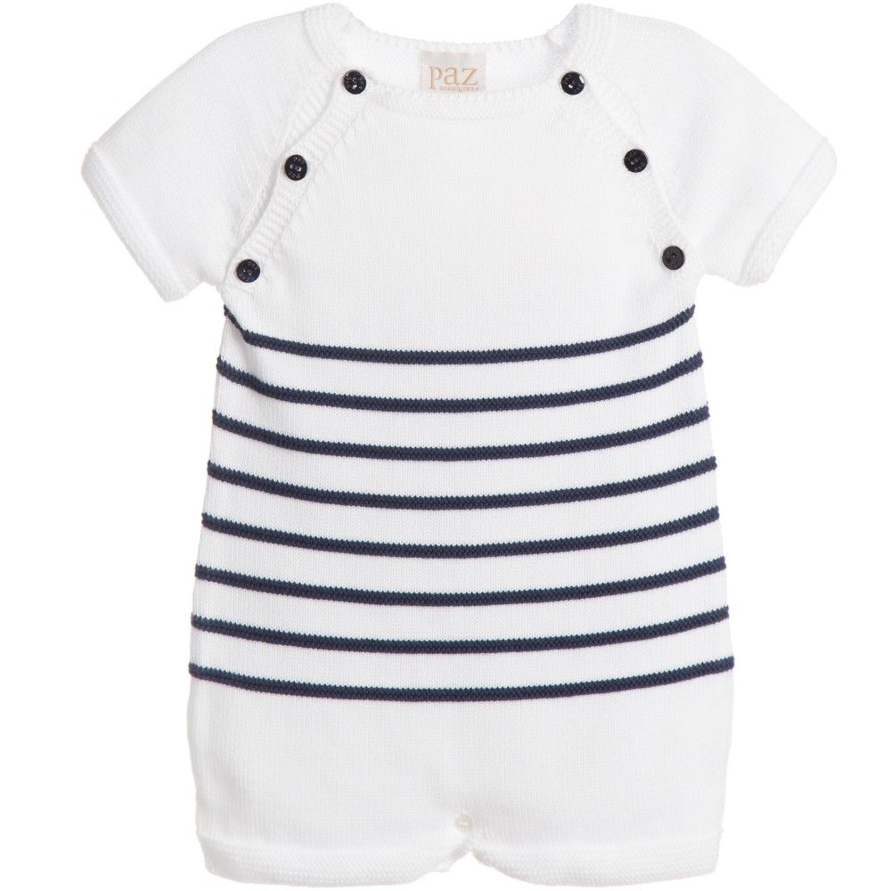 b08ce853ecf9 Paz Rodriguez Baby White   Navy Blue Cotton Knitted Shortie at ...
