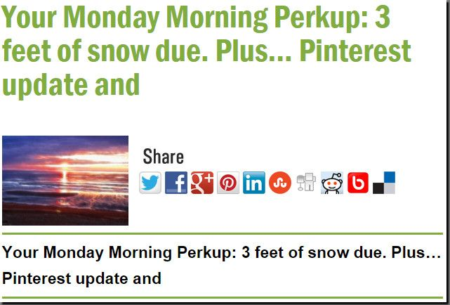Your Monday Morning Perkup: 3 feet of snow due. Plus... Pinterest update and
