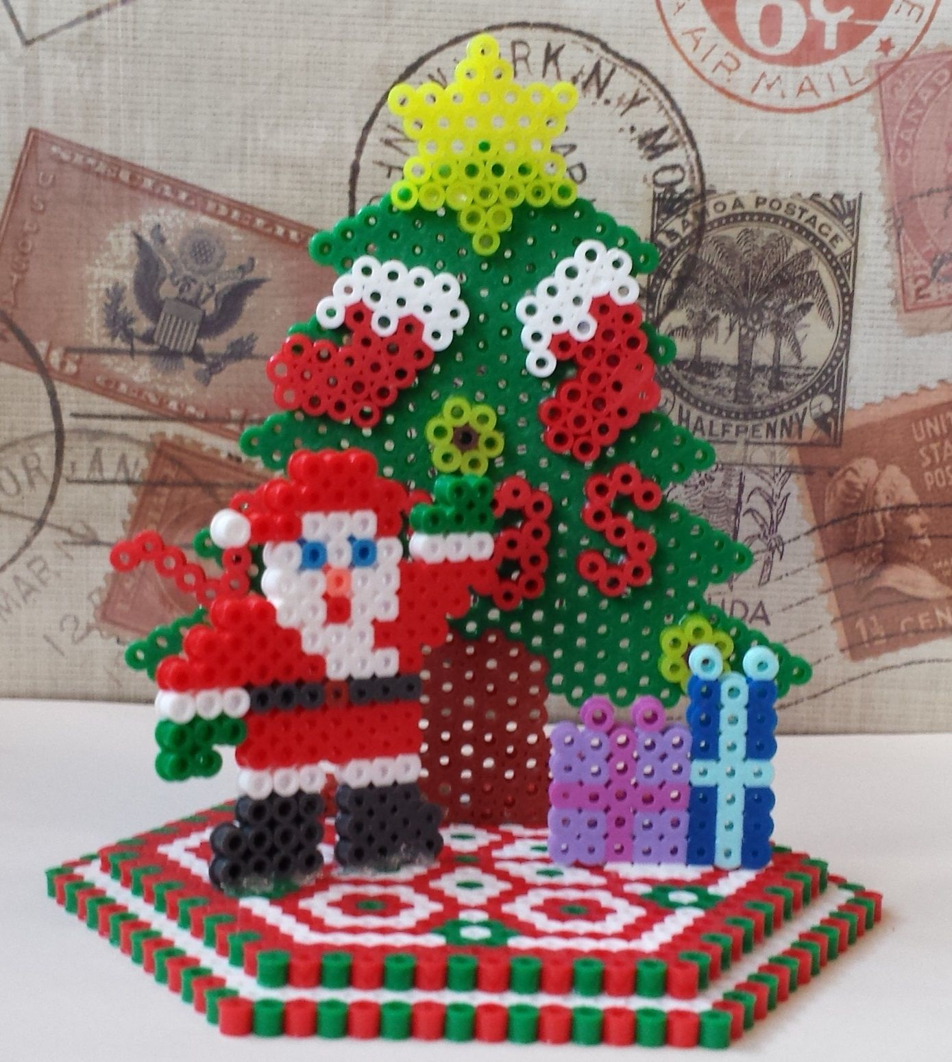 3D Christmas ornament perler beads by Joanne Schiavoni | Perler ...