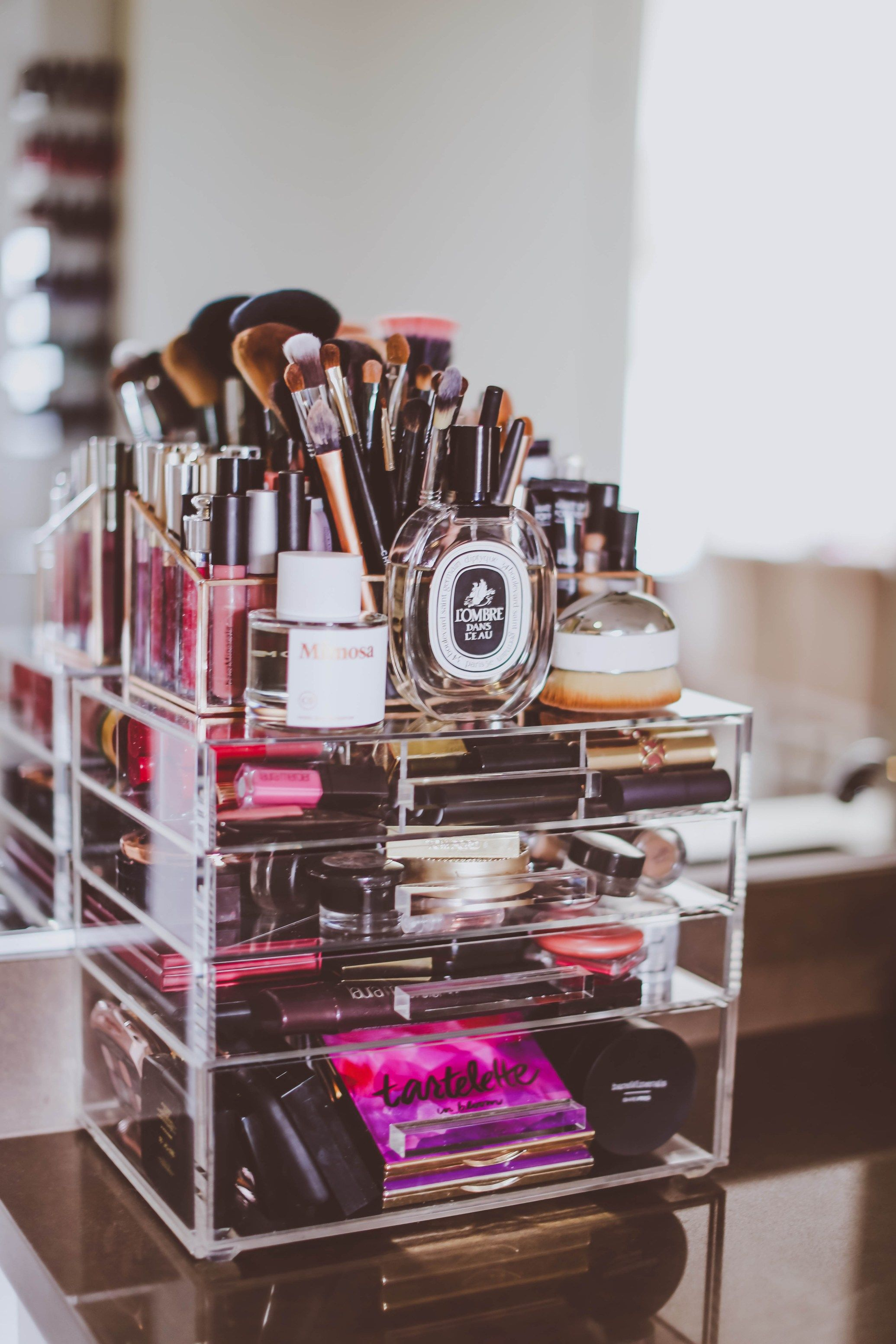 How I Organize My Makeup Vanity Rolling makeup case