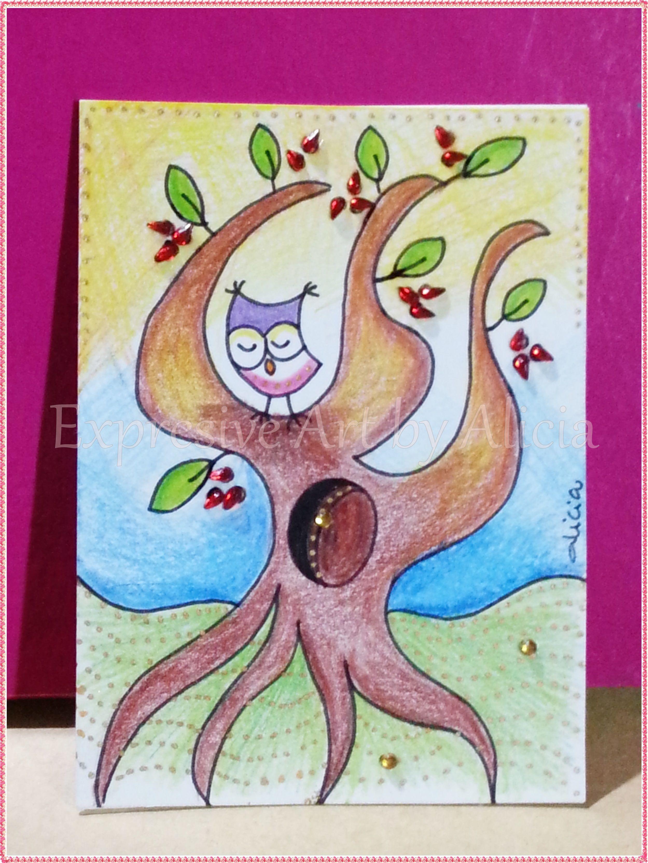TRADED Serie: Owlies No. 02/2015 Técnica: Lápices de Color y Rotulador