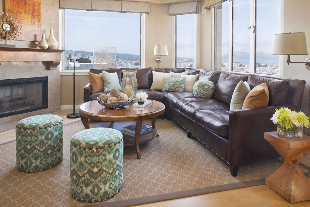 Family Room Living Dk Brown Leather Sofa Large Jute Area Rug Animal Throw Print Pillows Matching Curtains Home Decor Pinterest Anima