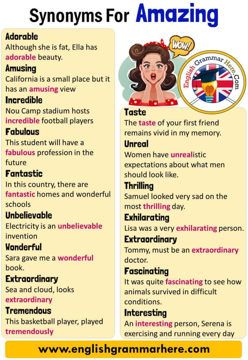 English Synonyms Amazing, Definition and Examples, Another Words