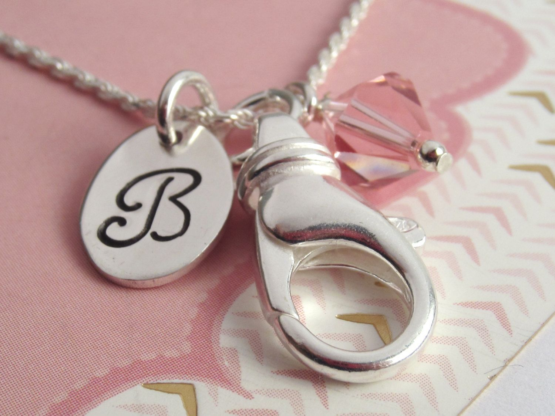 Schlüsselband Sterling Silber Halskette  personalisierte Monogramm Initial und Birthstone  Badge Holder