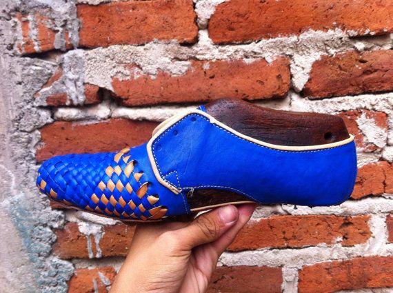 Azules Huaraches de los hombres zapatos hechos por artesanoslaraza
