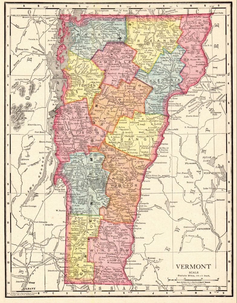 Details about 1913 Antique VERMONT Map Vintage State Map of Vermont ...