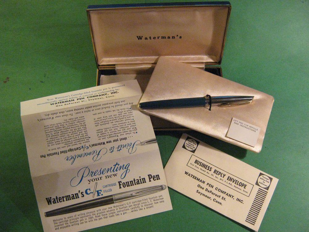 Waterman Cf Fountain Pen W Ink Converter All Papers 14k Nib In Case Box Vtg Waterman Waterman Fountain Pen Fountain Pen Waterman