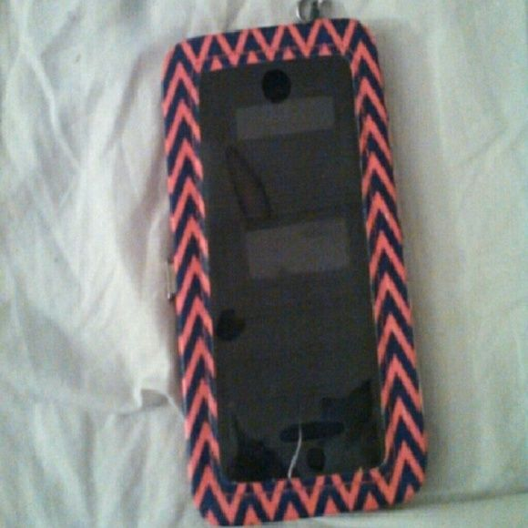 Wallet and phone holder Pink and blue cheveron Accessories