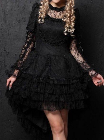 Black Lace Short Wedding Dress
