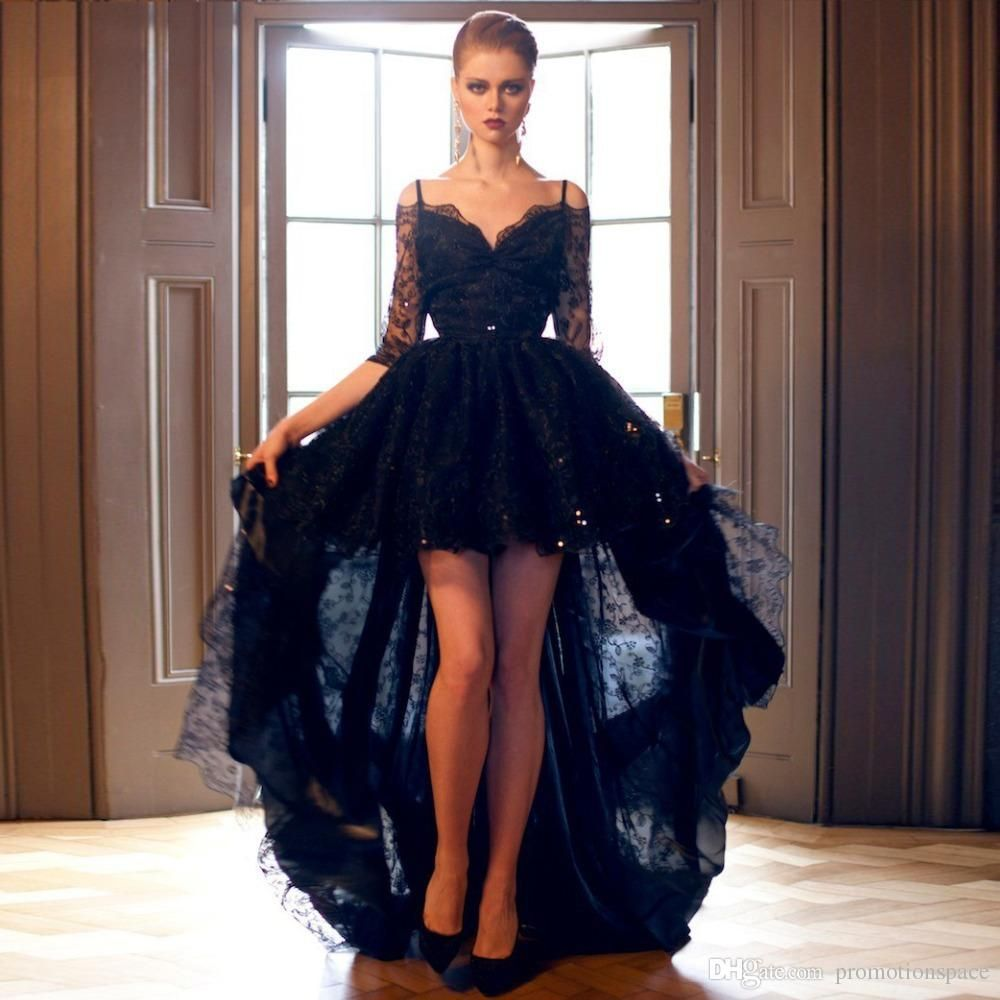 Cheap 2016 Vintage High Low Black Prom Dresses Off The Shoulder