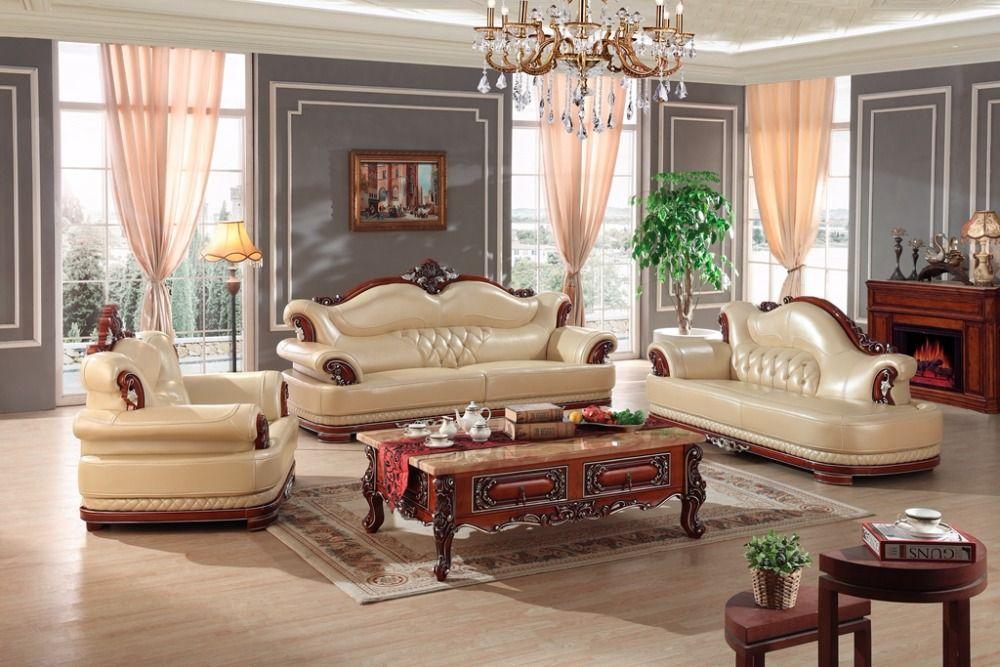 European Leather Sofa Set Living Room Sofa China Wooden Frame Sectional Sofa 1 4 Chaise Furniture Design Living Room Living Room Decor Gray Furniture
