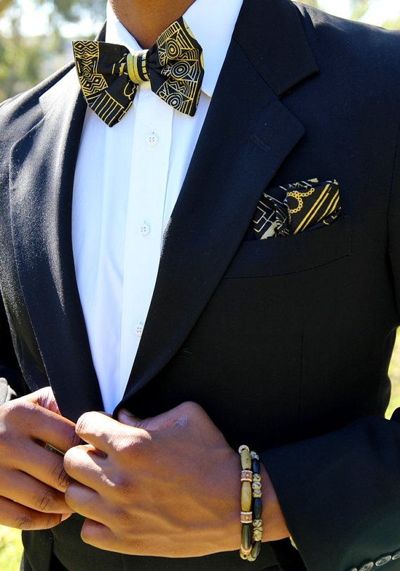 Black & Gold Tribal Bow Tie Set by MenoguDesigns on Etsy