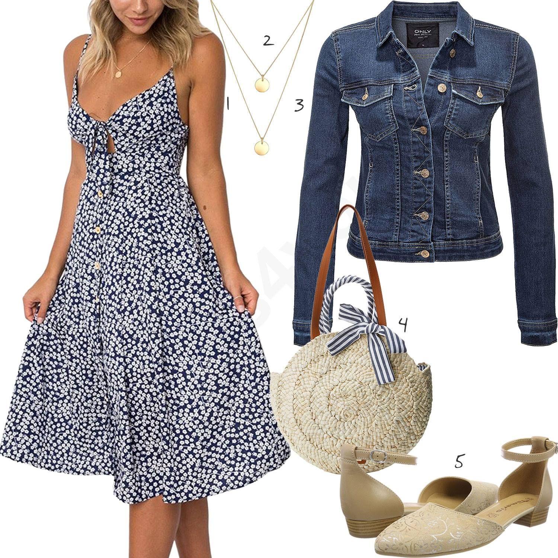 frauen-outfit mit blauem kleid und weißer jacke - outfits4you.de