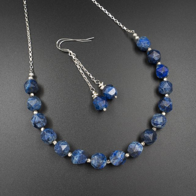 Photo of Lapis lazuli and sterling silver necklace and earring set, Sagittarius gift