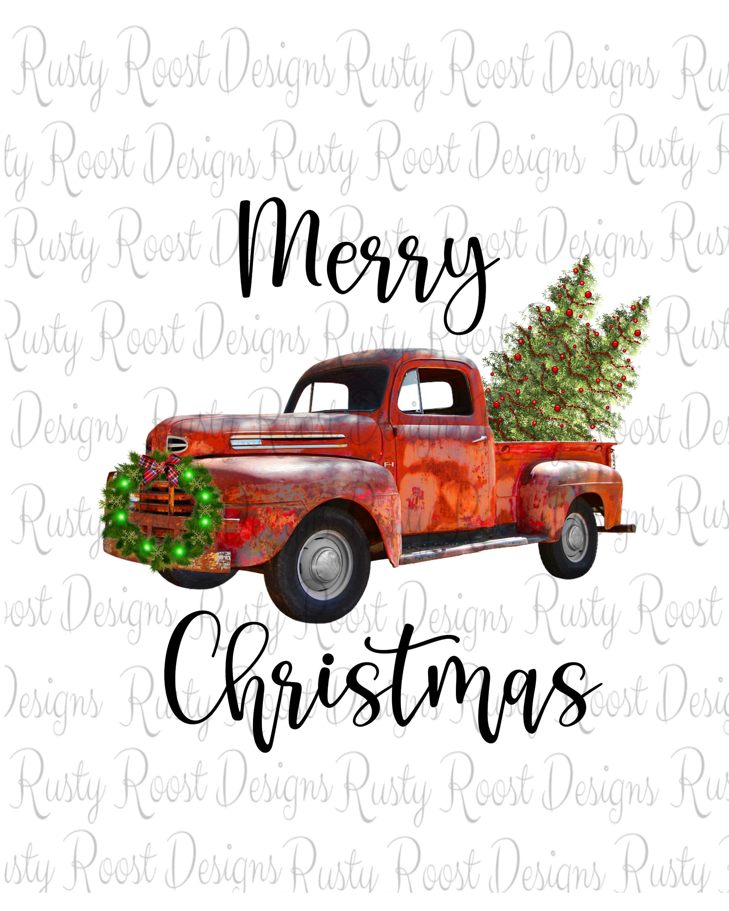Merry Christmas Pngchristmas Sublimation Designs Etsy Christmas Truck Christmas Red Truck Christmas Paintings
