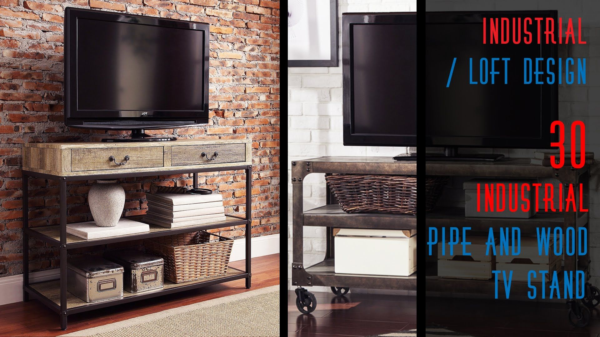 30 DIY Industrial Metal and Wood TV Stand The size of the