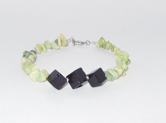 Black Agate and Chipstone Bracelet by HandCraftsForHaiti on Etsy, $7.00