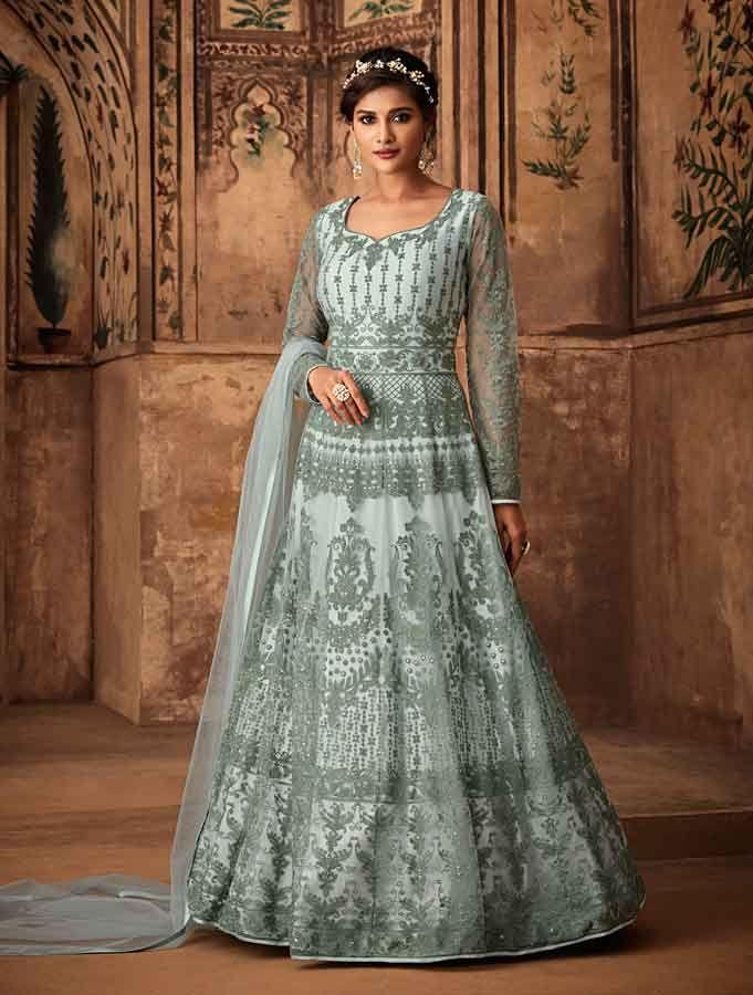 1a6eef24a50 Blue Net Anarkali Suits in 2019