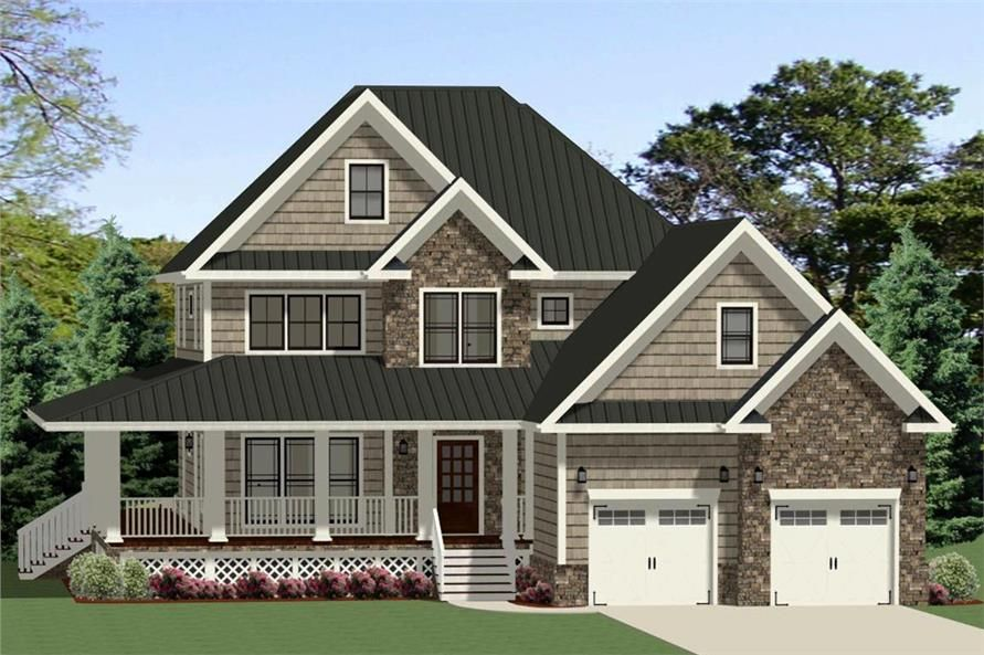 Front elevation of Farmhouse home ThePlanCollection House