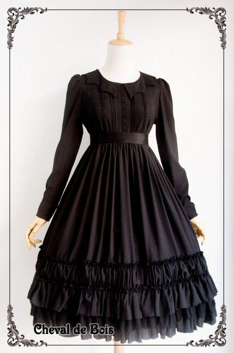 Cheval de Bois ~Black Cat~ Lolita OP Dress - My Lolita Dress