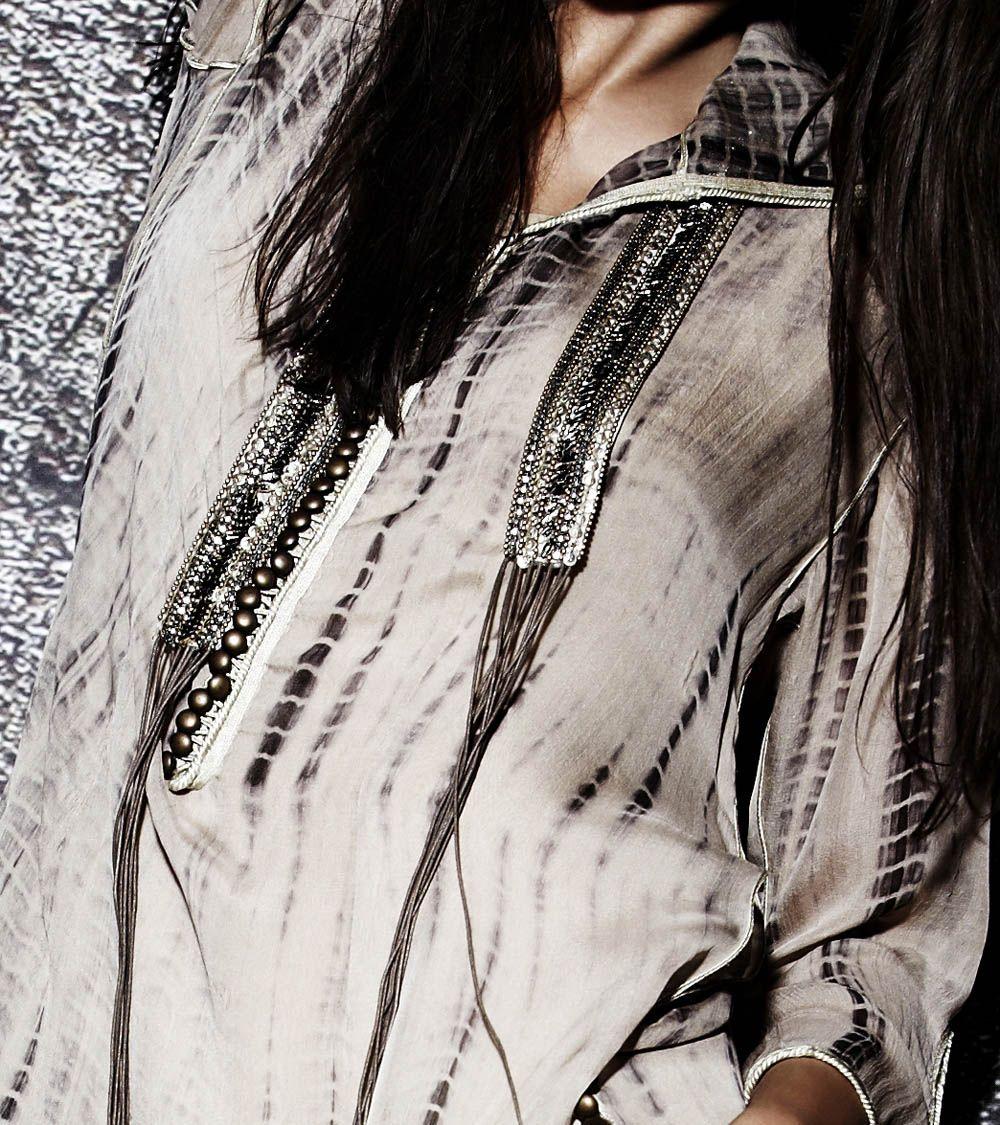 Beige Flat Chiffon Silk Tie Dye Short Hooded Tunic