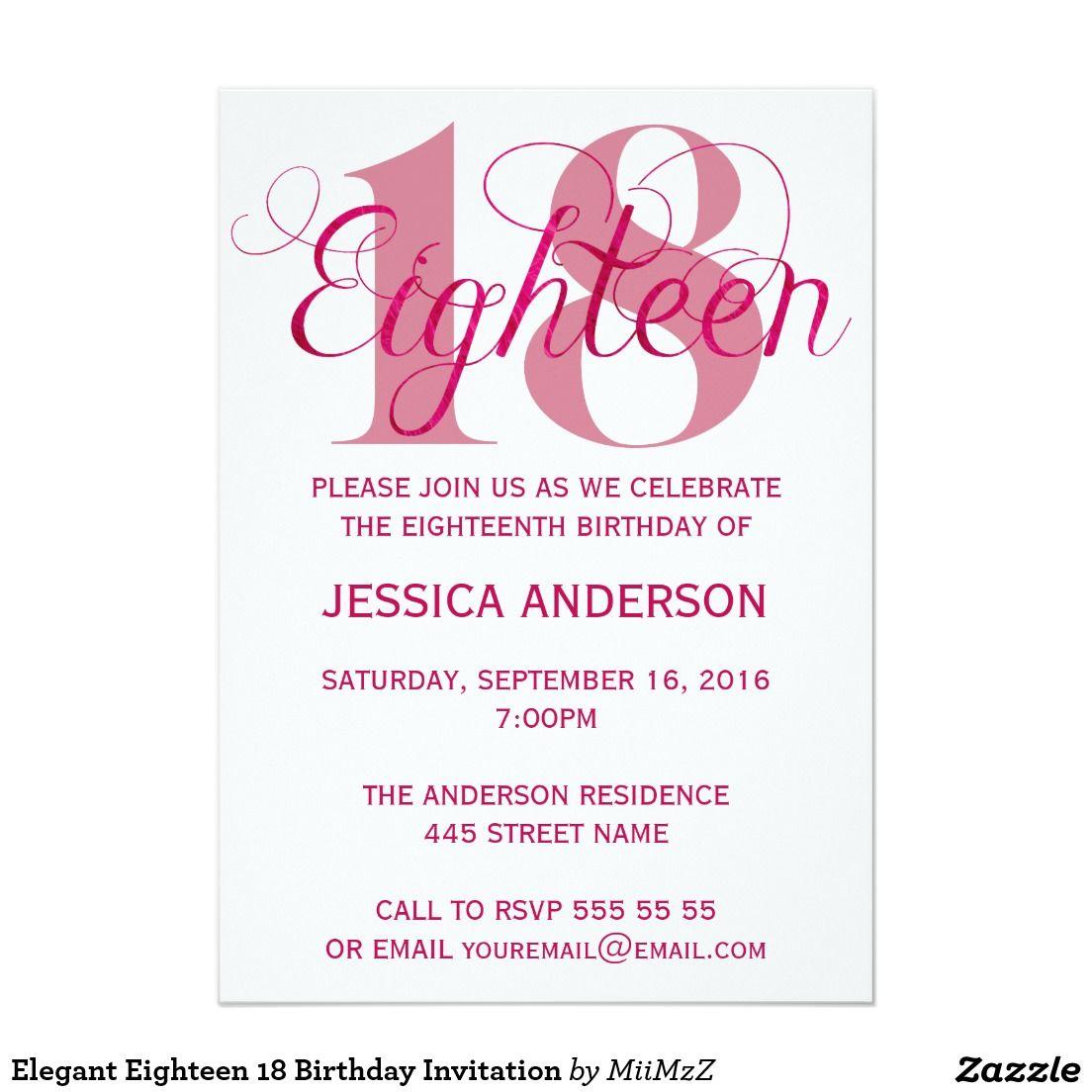Elegant Eighteen 18 Birthday Invitation | Teens 13-17 Birthday ...