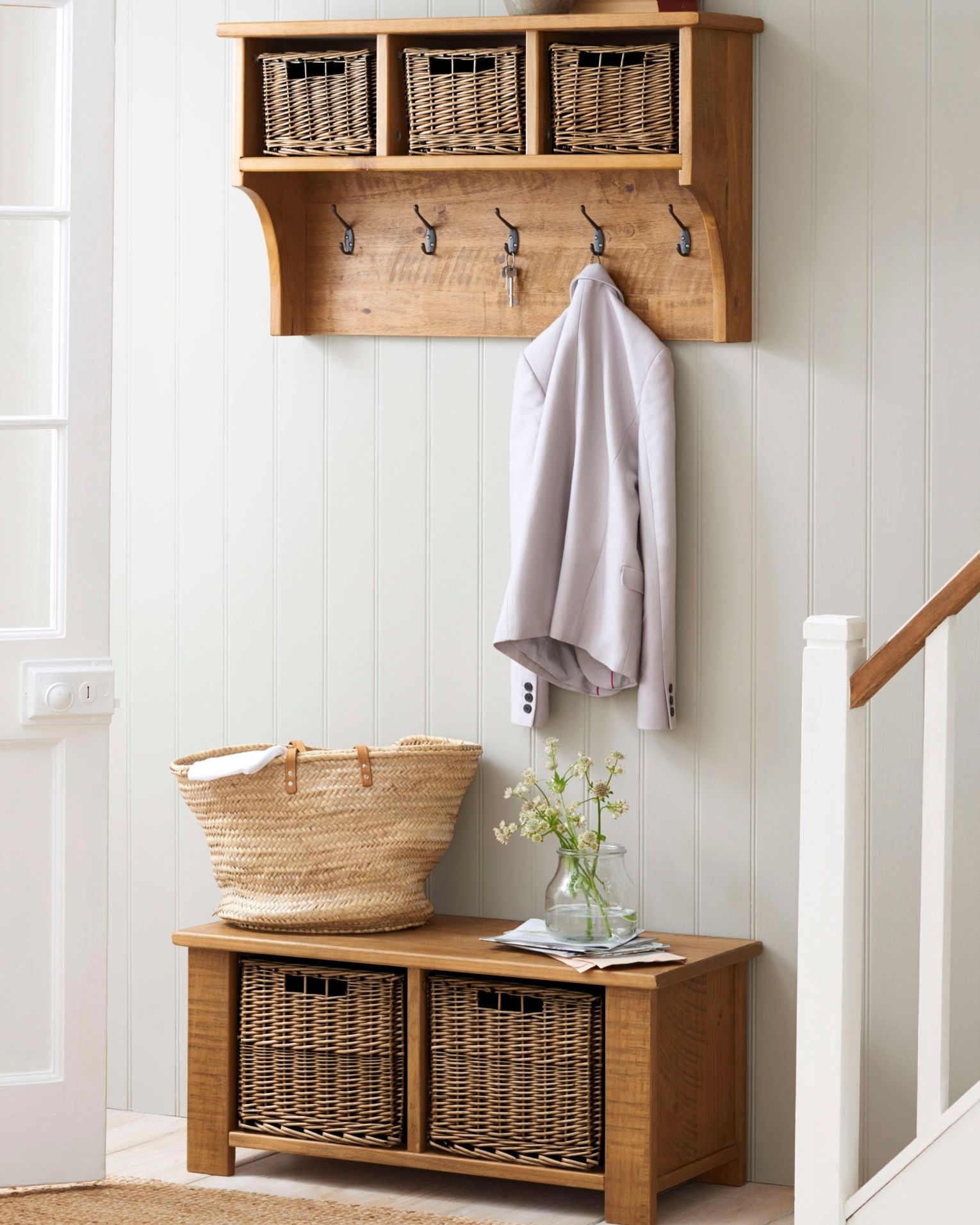 Storage ideas for hallway  Donut you wish your family hallway could look this neat Add some