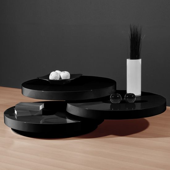 Genesis Black High Gloss Round Swiveling Coffee Table