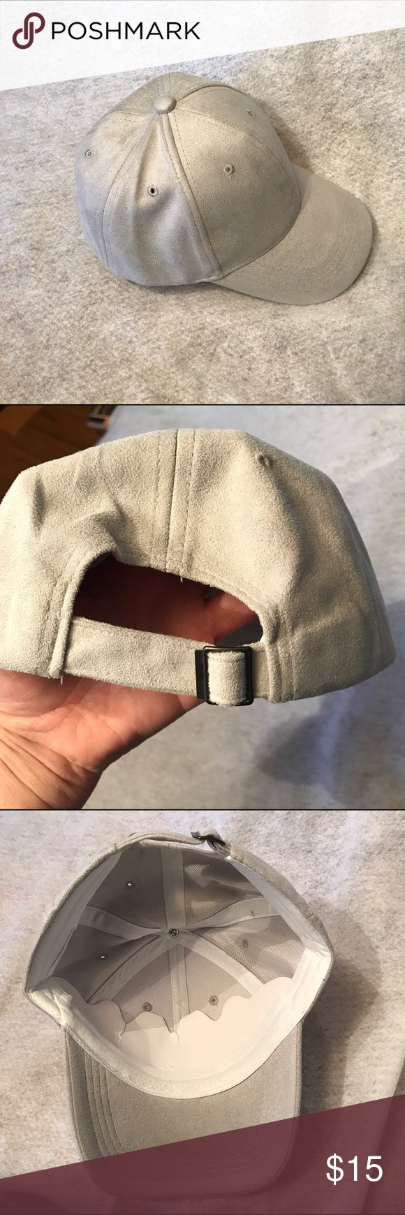 🆕 Faux Suede Baseball Hat NWOT!!  Faux suede baseball hat - adjustable. Color: light grey. One size fits most. Bundle discount available. No trades. Accessories Hats