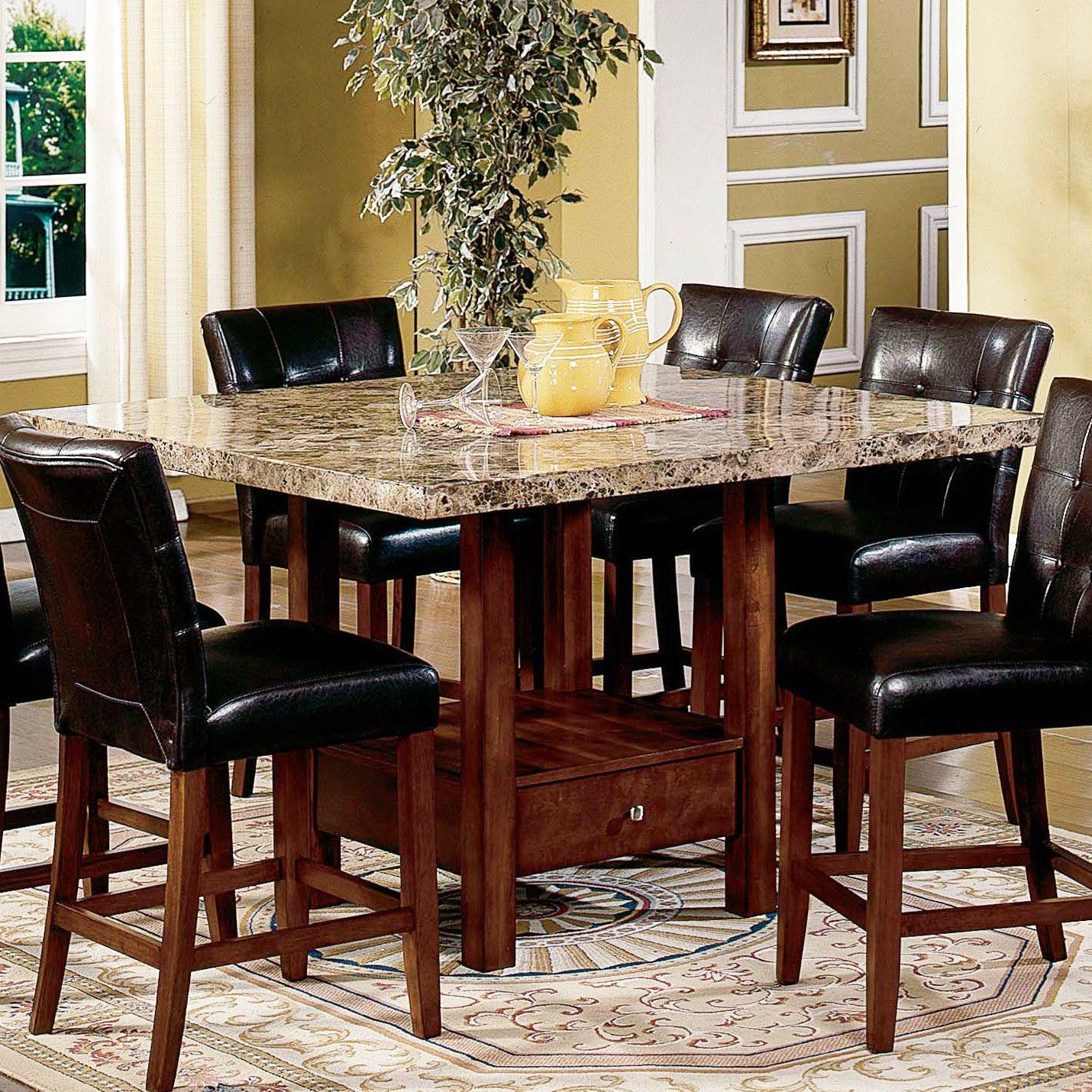Versatile Kitchen Table And Chair Sets For Your Home: Steve Silver Montibello Marble Top Counter Height Storage
