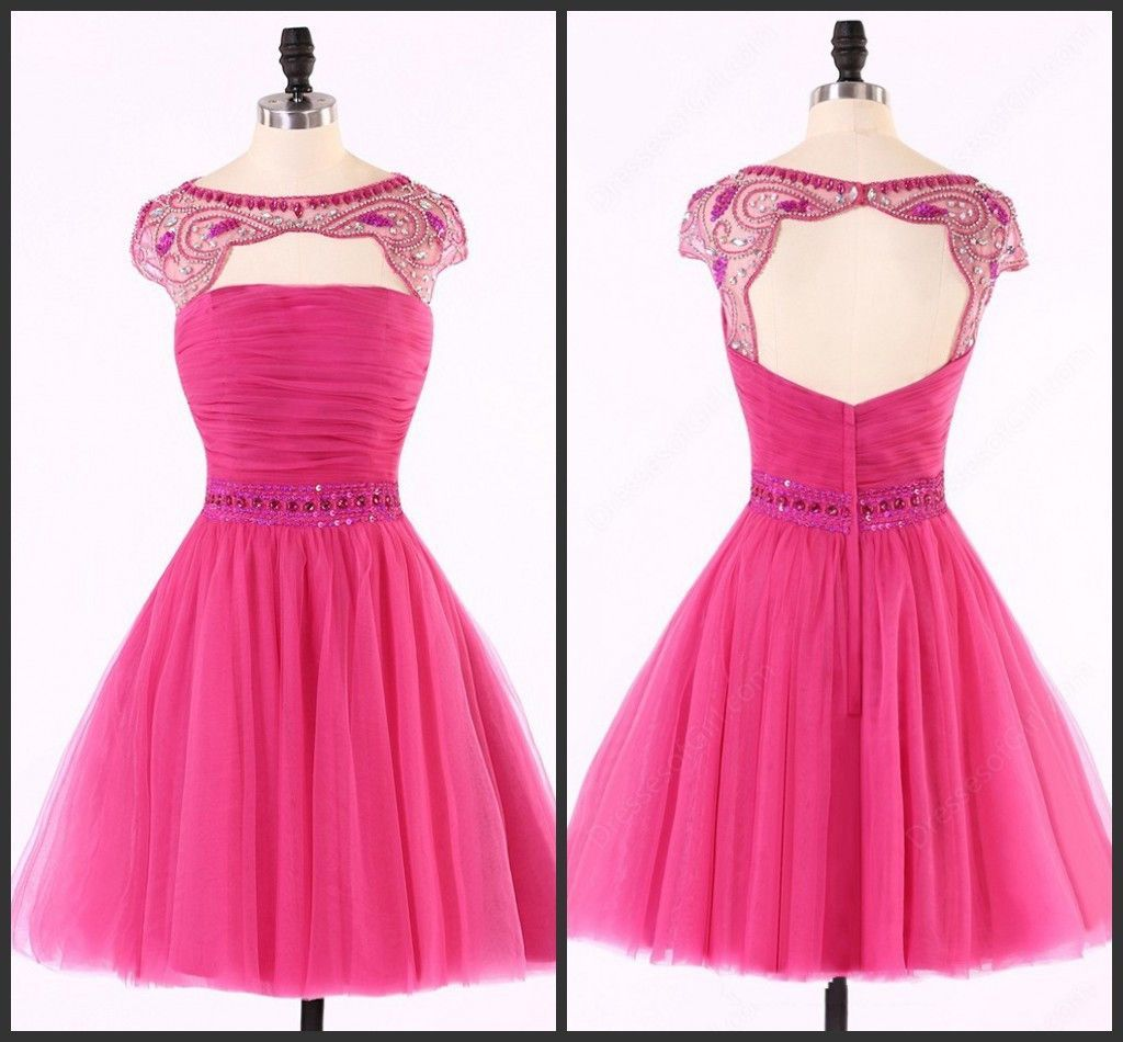 Sexy open back hot pink beaded cute homecoming prom dresses cm