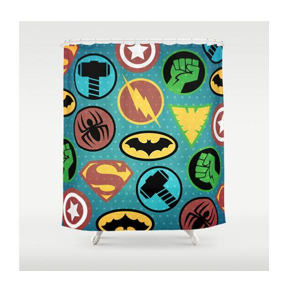Superhero Shower Curtain, Superheroes Shower Curtain, Bathroom Decor ...