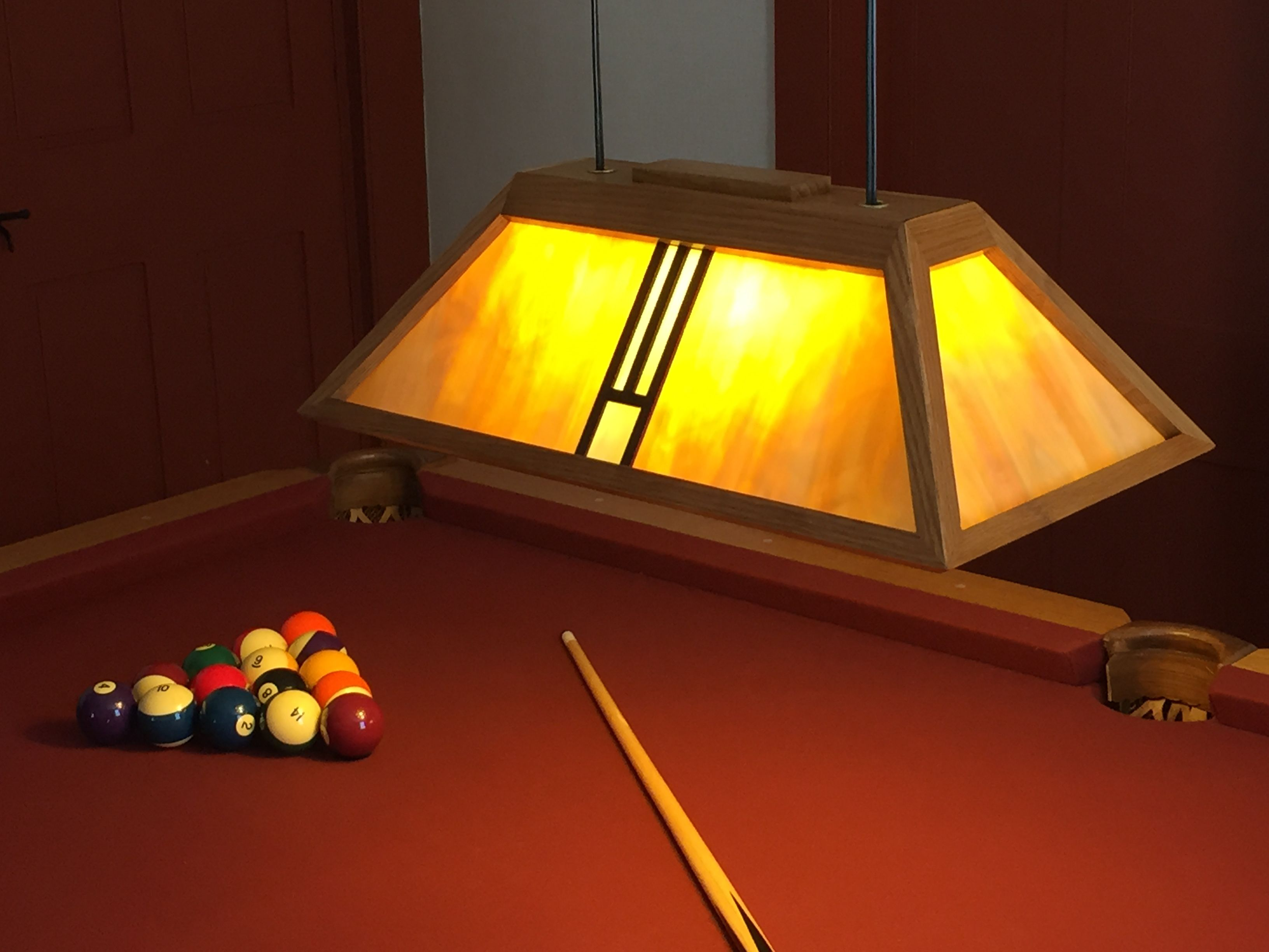 Arts And Crafts Style Pool Table Lamp Done In White Oak Light