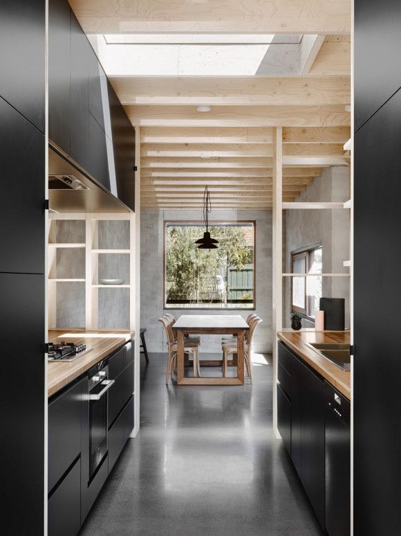 Black Kitchen, Polished Concrete, Plywood Open Shelves. Modern ...