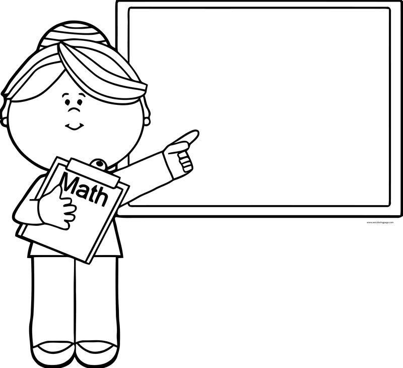 English Teacher Math Board Coloring Page School Coloring Pages Coloring Pages Coloring Pages For Kids