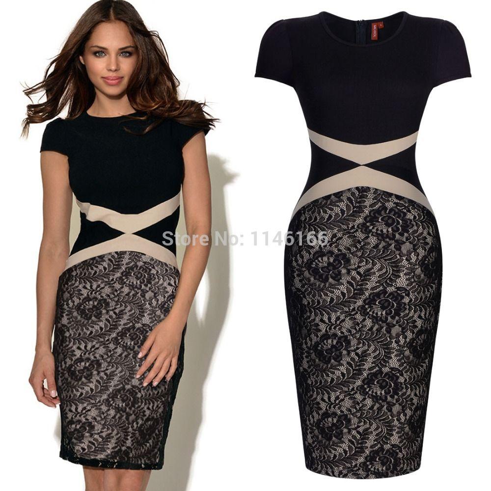 6b64f58d6 Venta al por mayor señoras para mujer verano Vintage Celeb contraste negro  encaje Bodycon del partido de coctel vestidos casuales de trabajo tamaño  SM-XXL ...