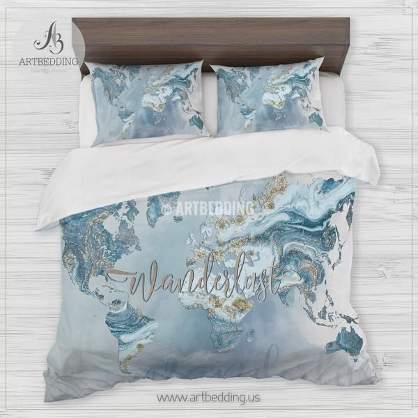 Wanderlust blue and gold marble summer vibes world map bedding wanderlust blue and gold marble summer vibes world map bedding bohemian wanderlust world map duvet gumiabroncs Choice Image