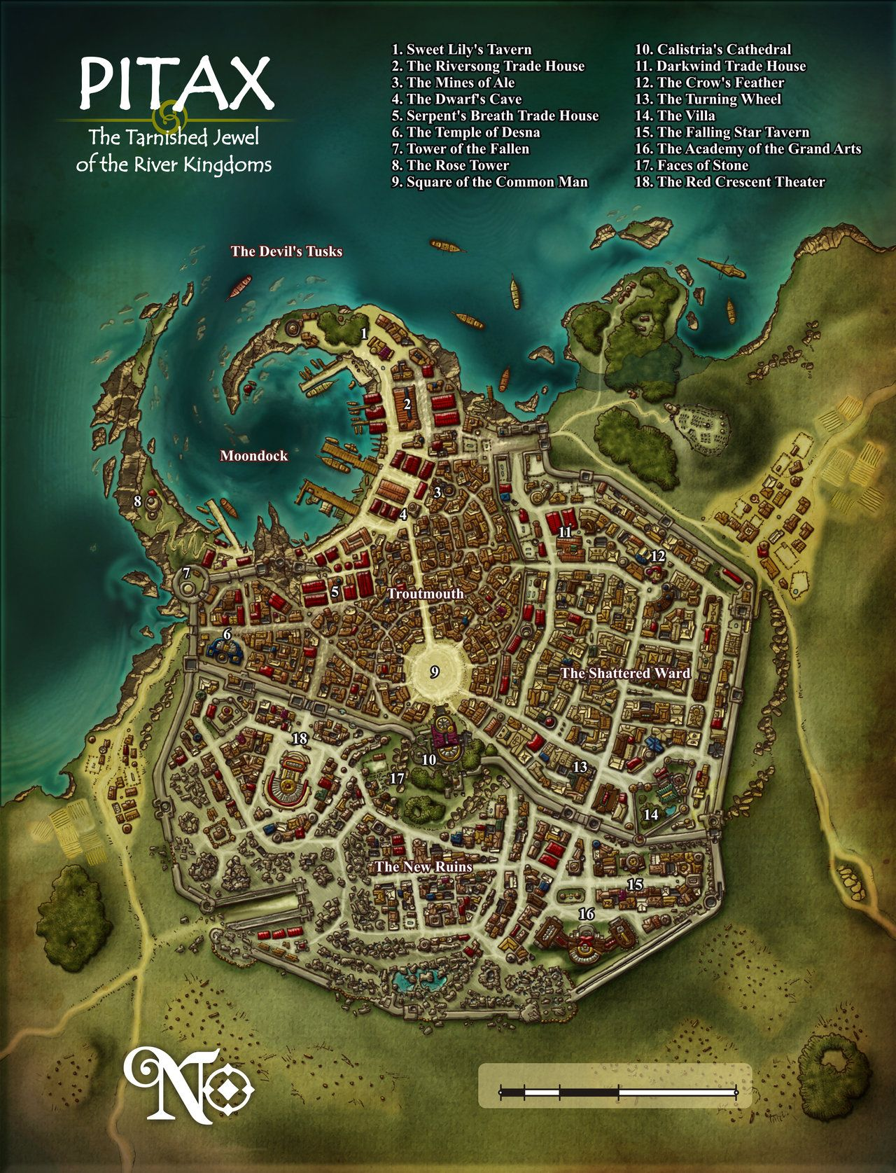 City map for Pitax city on the Pathfinder roleplaying game