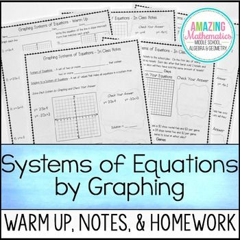 Solving Systems Of Equations By Graphing Warm Up Notes