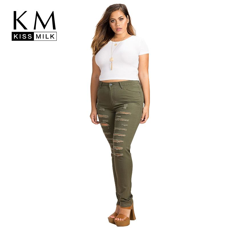 79f34fc9e5f Kissmilk Plus Size New Fashion Women Clothing Streetwear Solid Basic Broken  Hole Trousers Big Size Pencil Pants 3XL 4XL 5XL 6XL