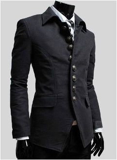 Mens Single Breasted Military Style Jacket CLAM767891E
