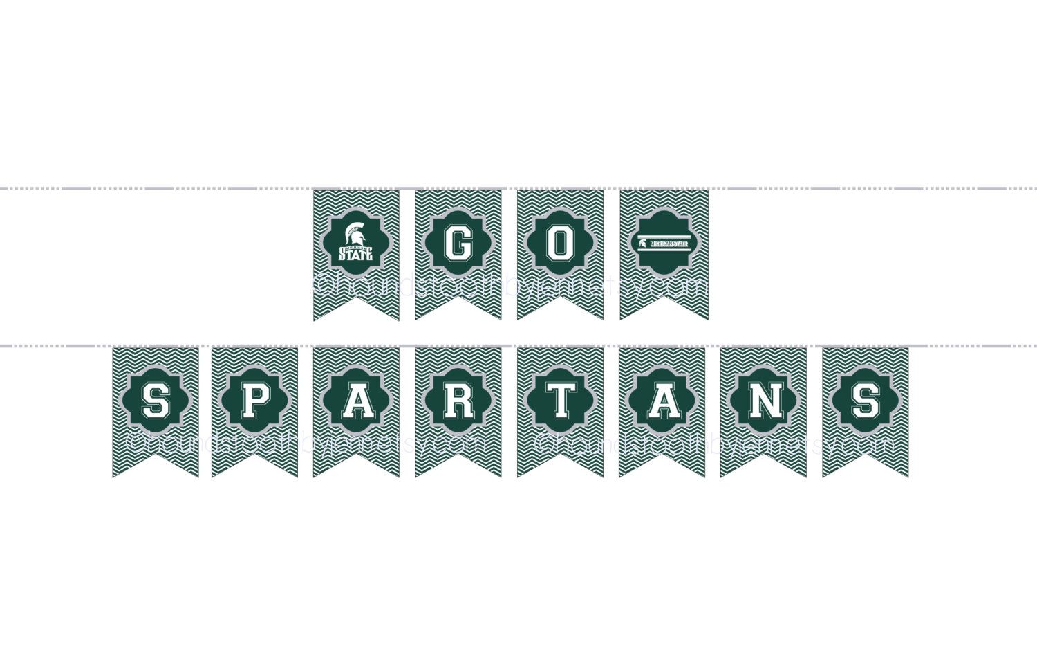 Instant Download Msu Michigan State Spartans Banner Pennants Printable Football Tailgate Par Tailgate Party Decorations Michigan State Michigan State Spartans