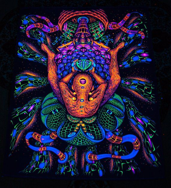 "UV TAPESTRY ""FacePlace"" Blacklight Backdrop Wall Hanging"