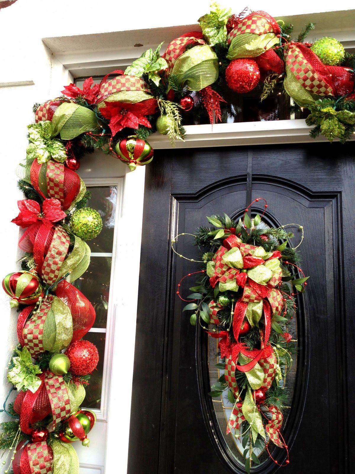 Front door Christmas garland Christmas garland, Front