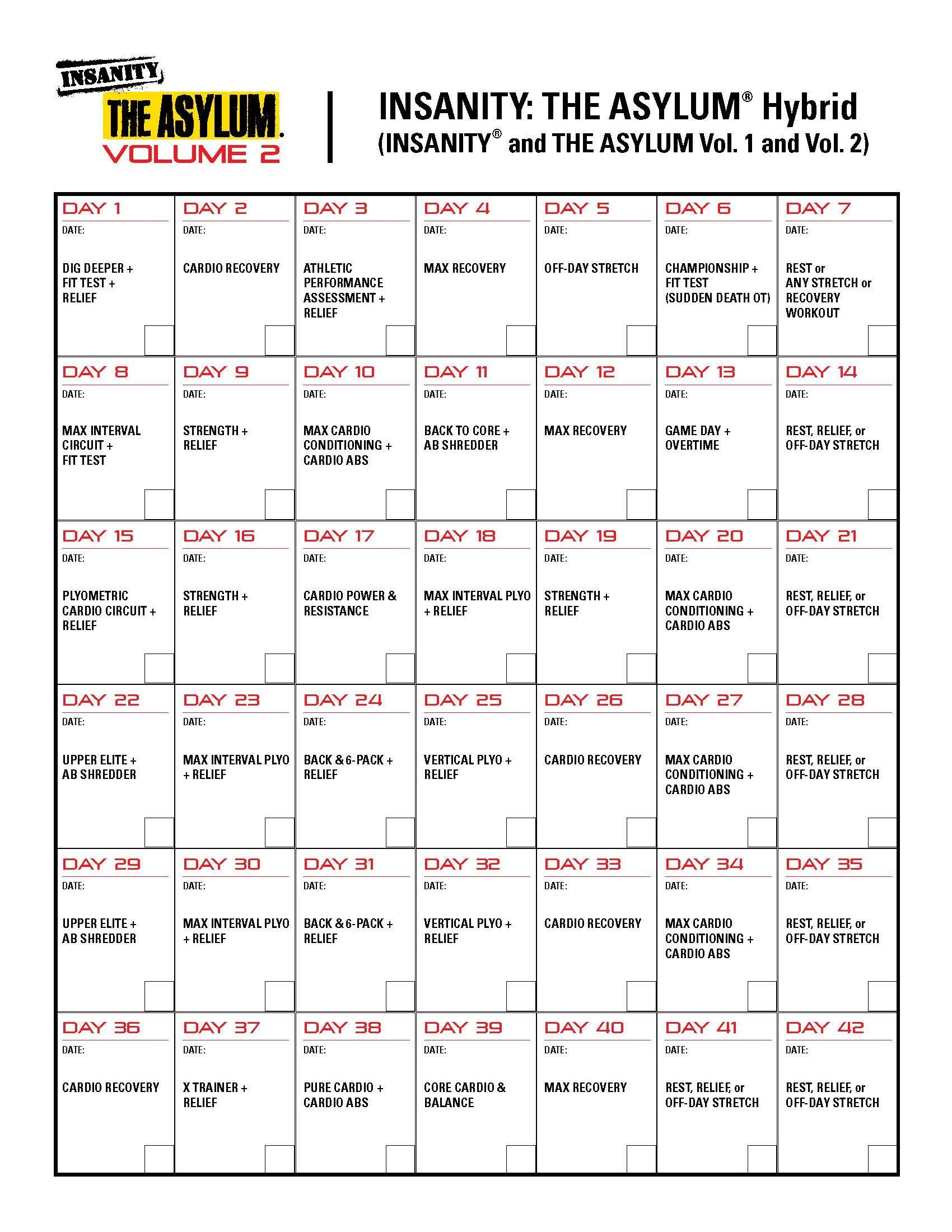 Insanity Asylum Volume 1 Calendar : insanity, asylum, volume, calendar, Insanity/Asylum, Hybrid, Month, Beachbody, Workouts,, Workout, Calendar,, Insanity, Asylum