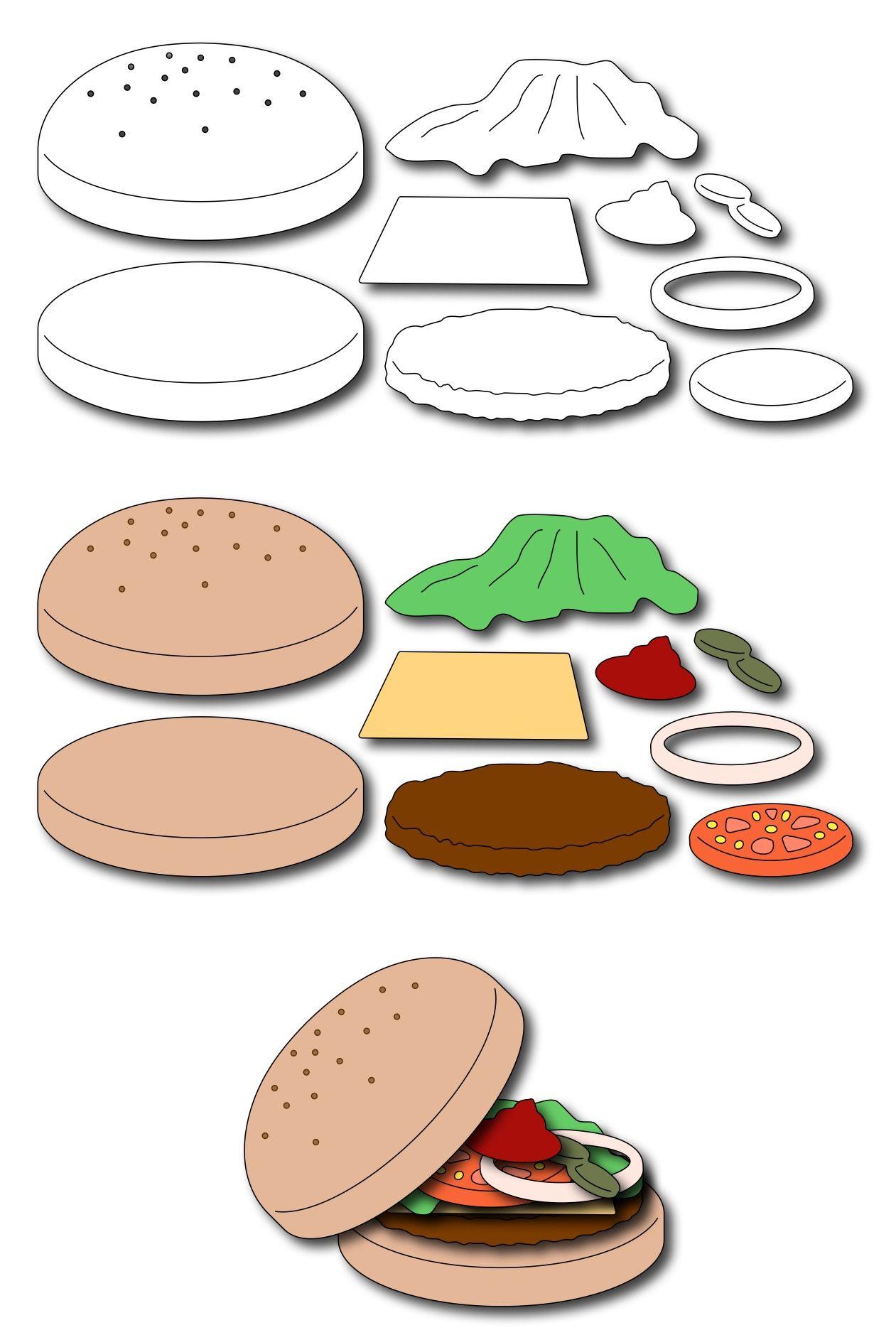 Build A Burger Set Of 9 Dies Frantic Stamper Kids Crafts Free Bbq Crafts