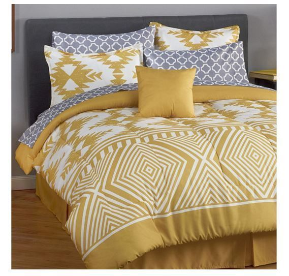 """MyHome """"Phoenix"""" 8 Piece Bedding Set in Yellow - Queen #MyHome"""