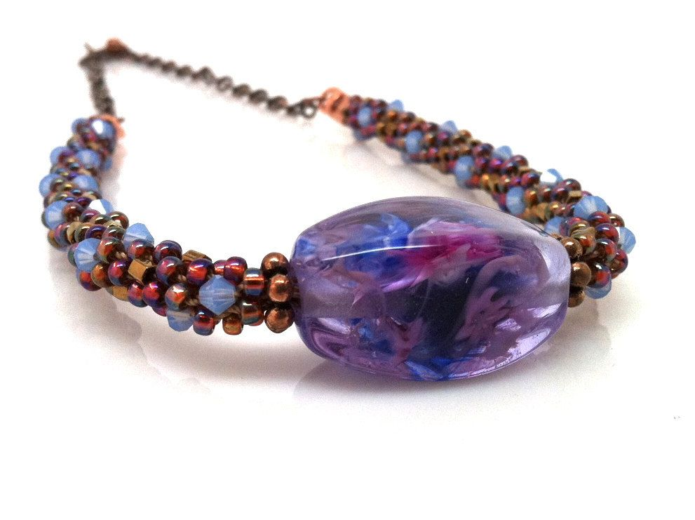 Beaded Kumihimo Necklace in Purple and Blue by GirlBurkeStudios, $50.00