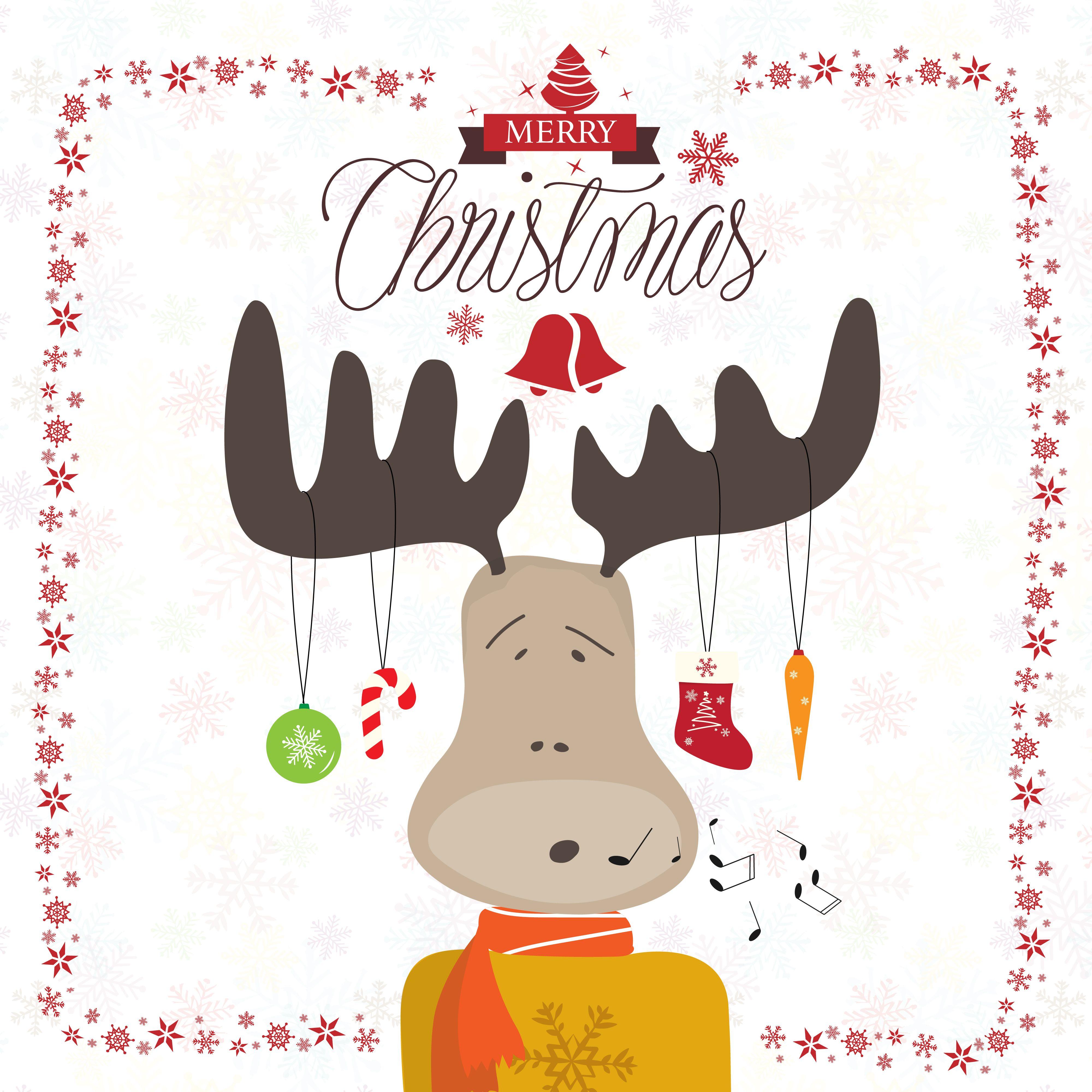Cartoon Christmas Singing Deer Vector Greeting Card