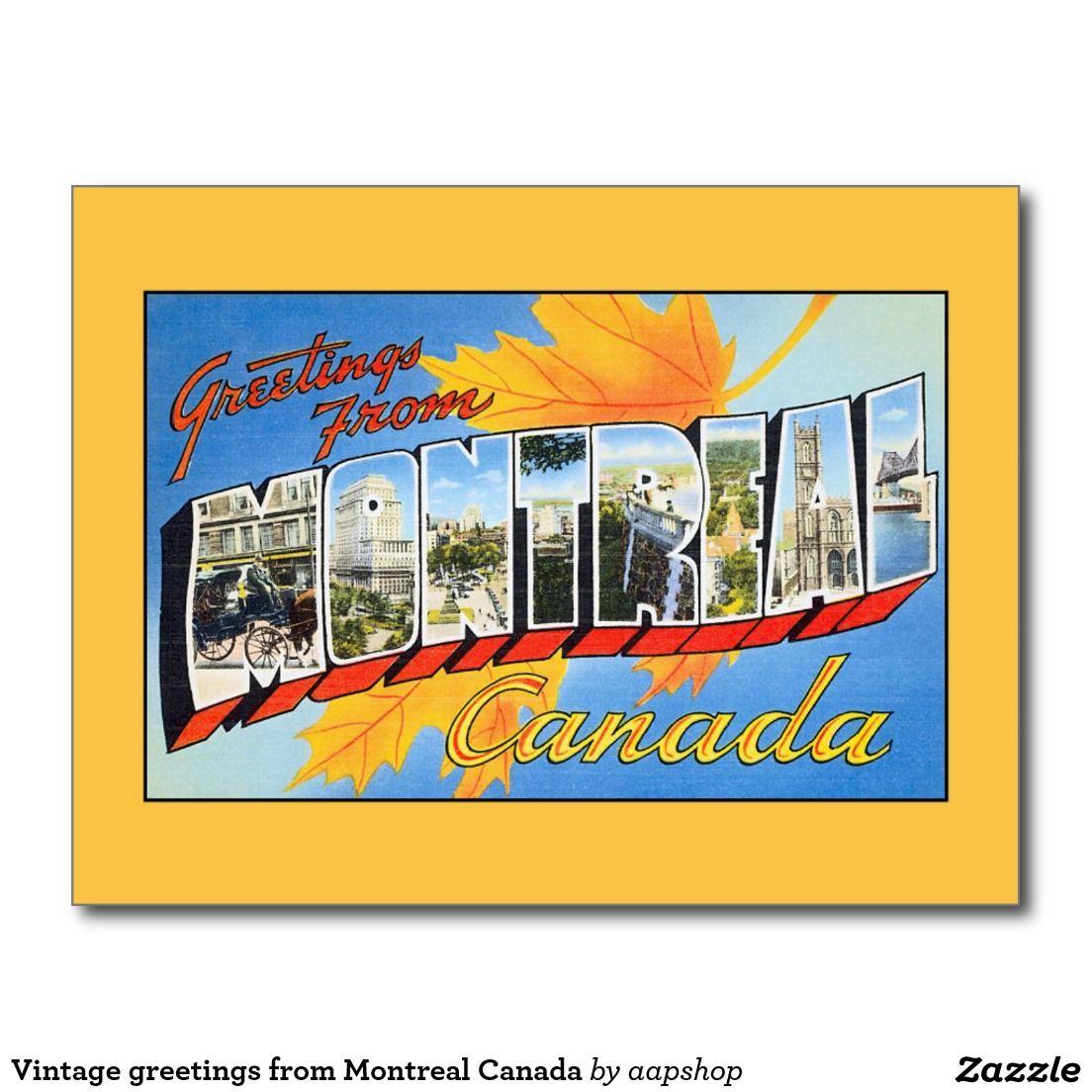 Vintage Greetings From Montreal Canada Postcard Vintage Postcard